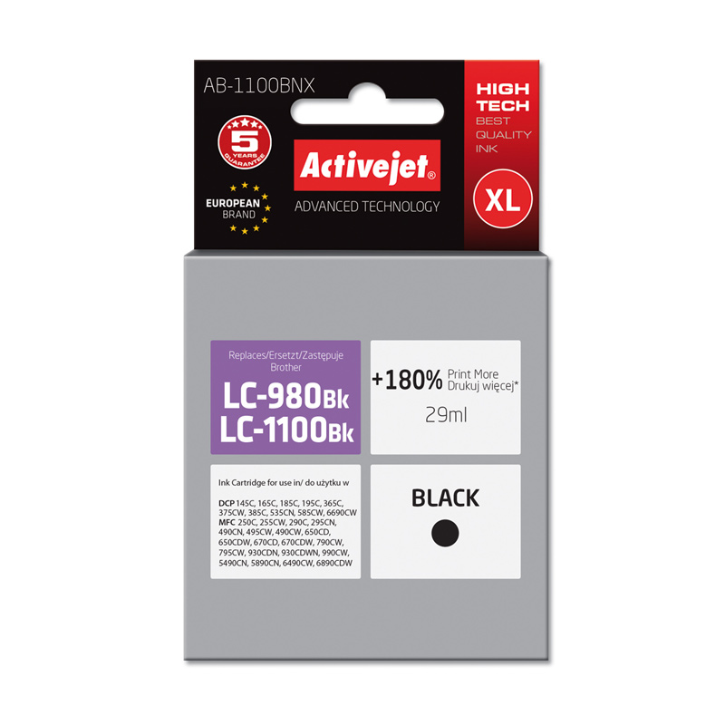 Activejet INK pentru BROTHER LC1100BK NEW AB-1100BNX