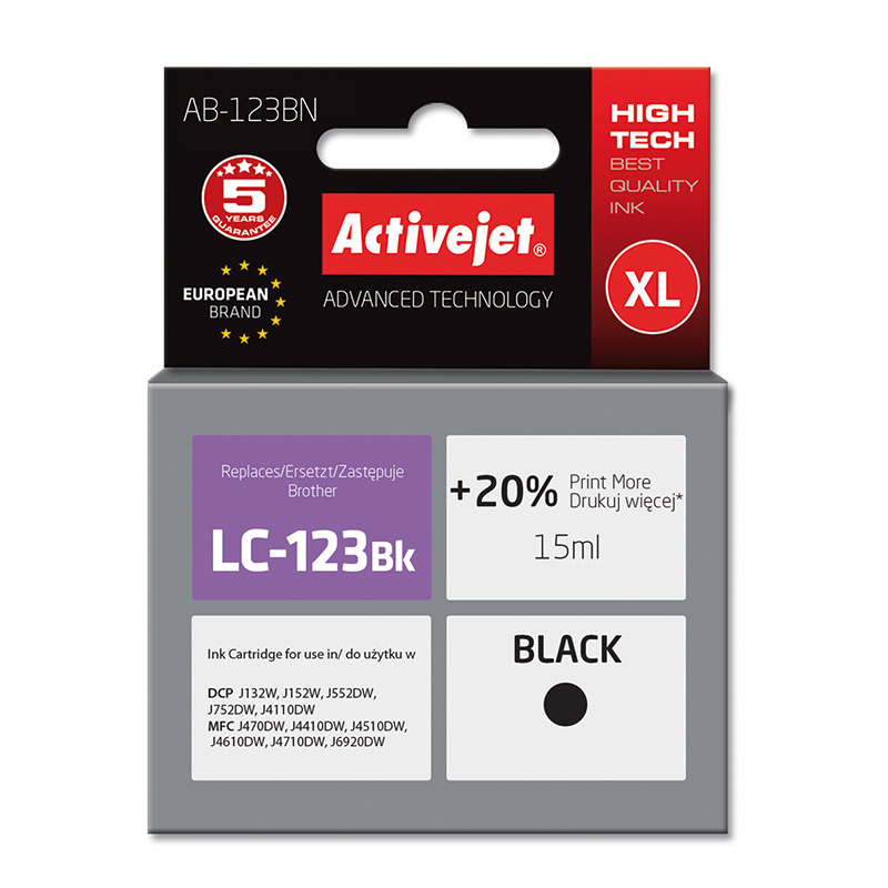 Activejet INK pentru BROTHER LC123BK NEW AB-123BN